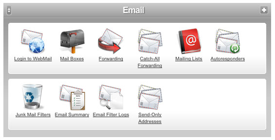 Managing emails through the Control Panel
