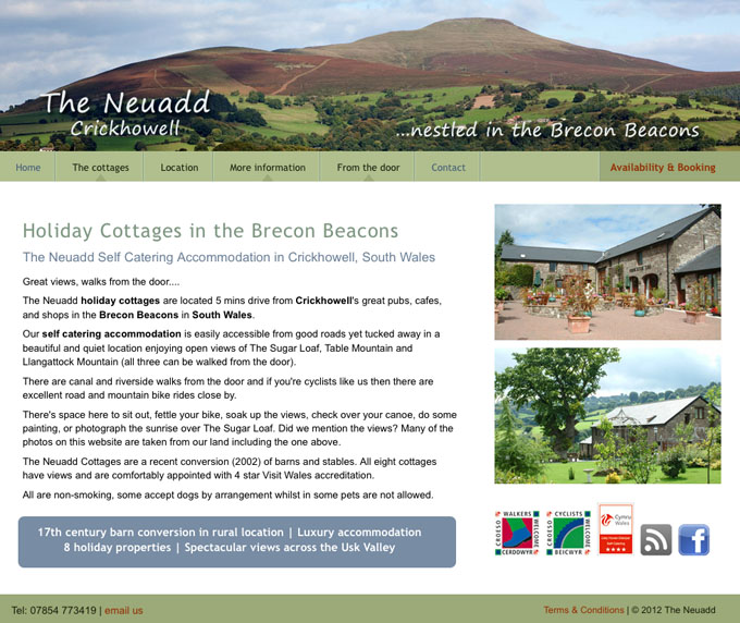 The Neuadd Cottages Wales website