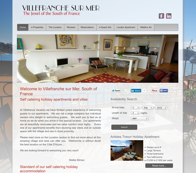 Villefranche holiday apartments website