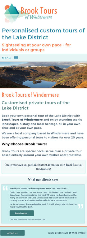 Brook Tours of Windermere mobile friendly web design