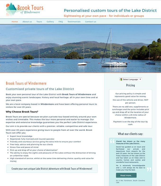 Brook Tours of Windermere website
