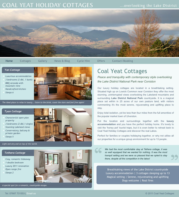 Coal Yeat Holiday Cottages website