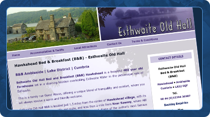 Esthwaite Old Hall Bed and Breakfast Website