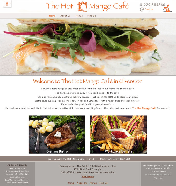 The Hot Mango Cafe website