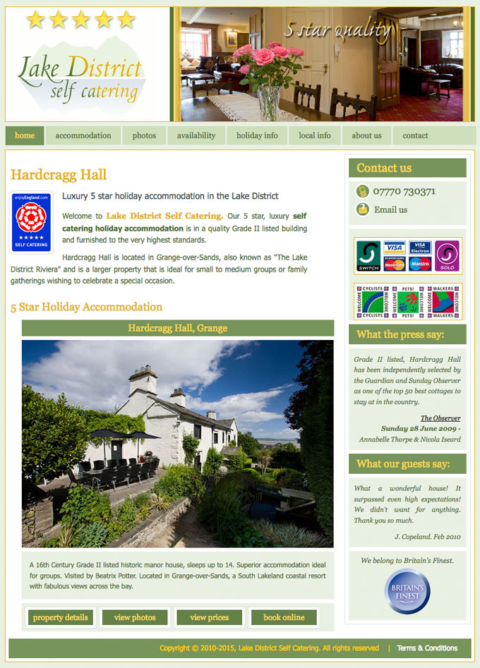 Lake District Self Catering website design