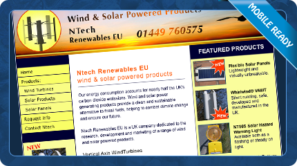 Ntech Wind and Solar Products Website