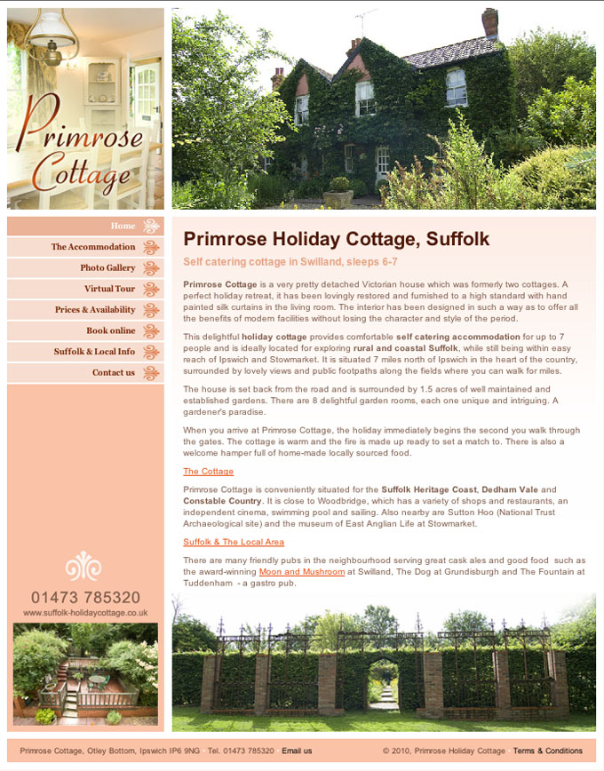 Primrose Holiday Cottage Website