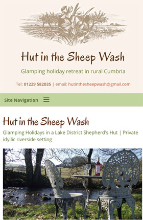 Hut in the Sheepwash mobile friendly web design