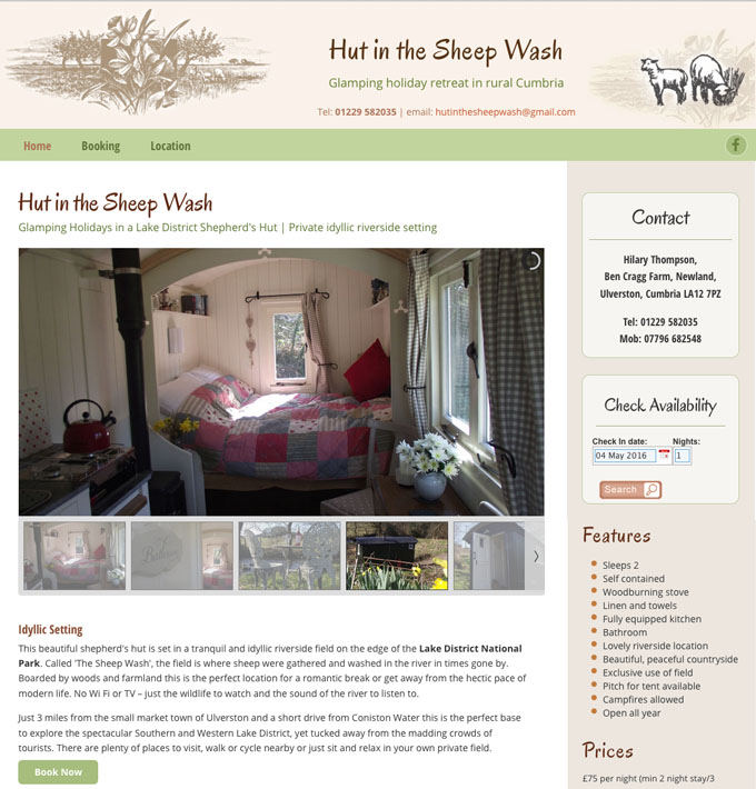 Hut in the Sheepwash website